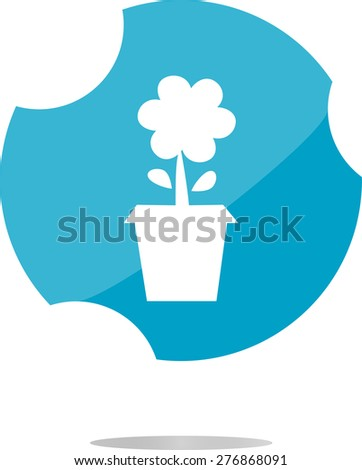 vector Plant in flower pot button isolated on white