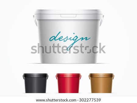 Vector plastic bucket illustration. Ideal for your mock up. Elements are layered separately in vector file. Colors are just two global colors. Easy editable. - stock vector