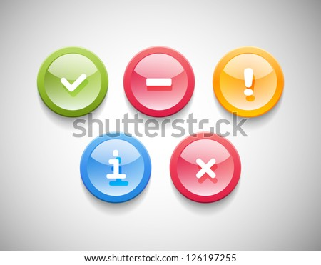 Vector plastic glossy round icons set - success, error, warning, information, forbidden - stock vector