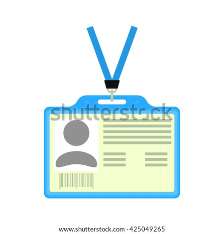 Vector plastic ID badge. Identification card. Vector badge holder with identification card. Isolated ID badge. - stock vector