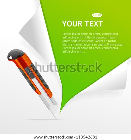 Vector Plastic knife and template for text - stock vector