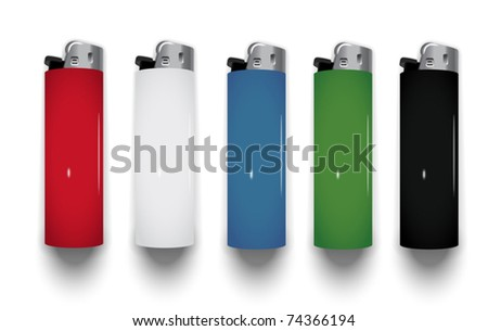 vector plastic lighters (three-dimensional shadow) - stock vector