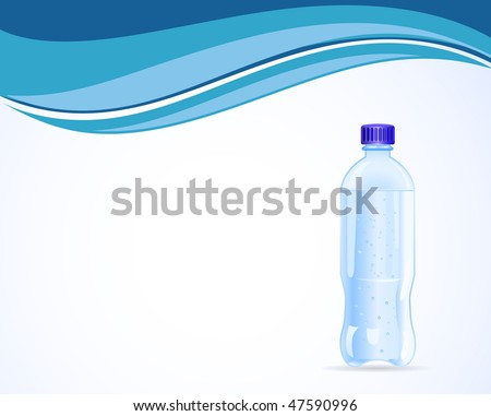 vector plastic water bottle on wave background