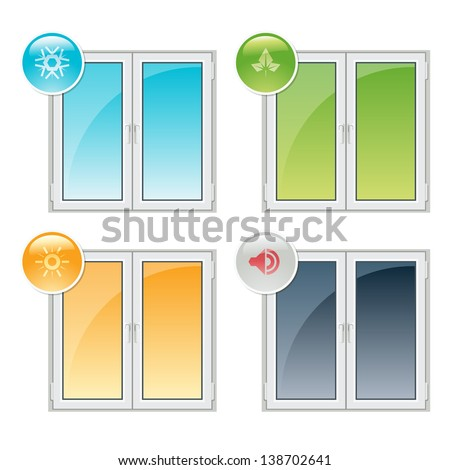 Vector plastic windows properties - thermal insulation, noise reduction, and recyclability - stock vector