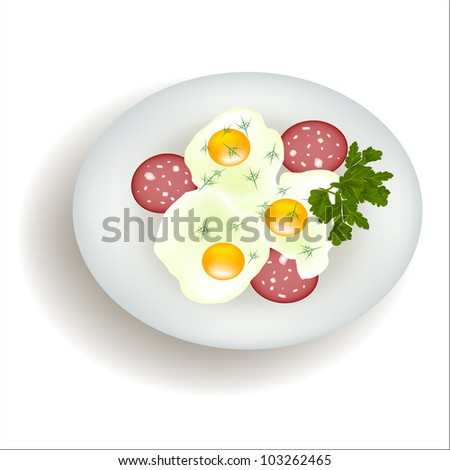 vector plate Scrambled Eggs sausage isolated on white background