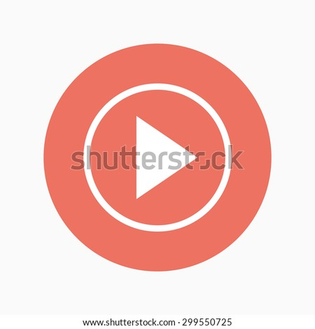vector play icon on white background. flat design vector - stock vector