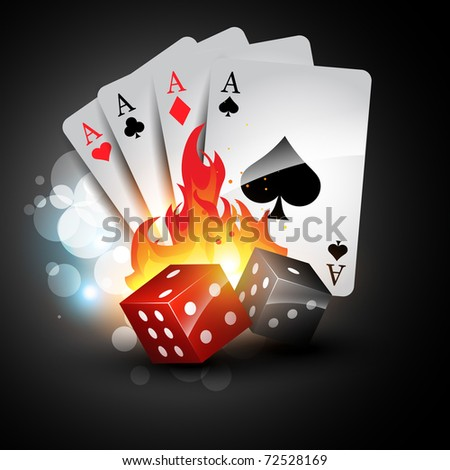 vector playing card with burning dices - stock vector