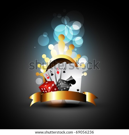 vector playing card with dices beautiful design - stock vector