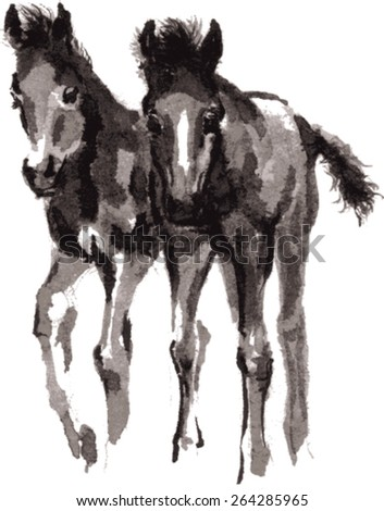 Vector playing foals, standing side by side, oriental ink painting