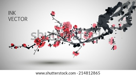 Vector Plum Blossom.Traditional chinese elements. - stock vector
