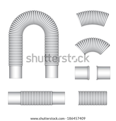 vector plumbing corrugated flexible tubes - stock vector