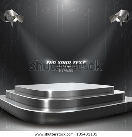 Vector Podium with Two Spotlights - stock vector