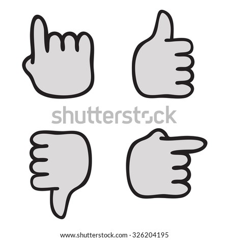 Vector Pointer and thumb up set.