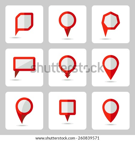 Vector pointer red icons set  various forms  on a white square in flat style - stock vector