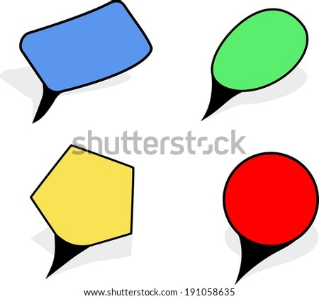 Vector pointers in blue,green,yellow and red colour as circle,rectangle,oval, pentagon shapes isolated on a white background