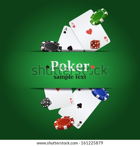 Vector poker background with playing cards, chips and dices - stock vector