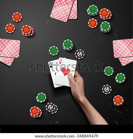Vector Poker gambling chips. casino elements with hand holding two aces - stock vector