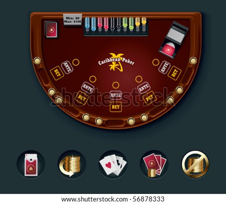 Vector poker table layout - stock vector