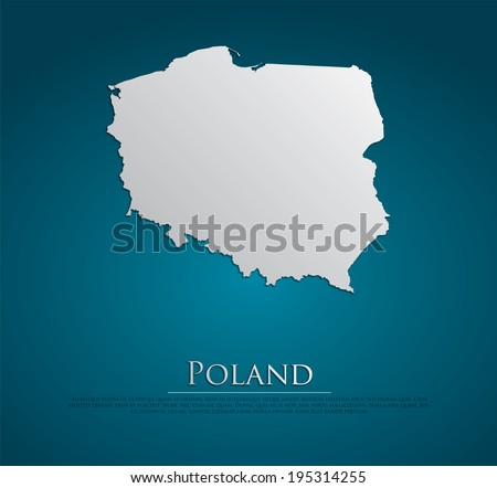 vector Poland Map card paper on blue background, high detailed - stock vector