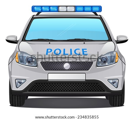 Vector Police Car #3 - Front view - stock vector