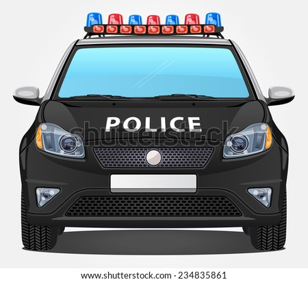 Vector Police Car #2 - Front view - stock vector