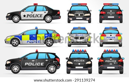 Stock Vector Police Cars Side Front Back View Mg Symbol Shutter