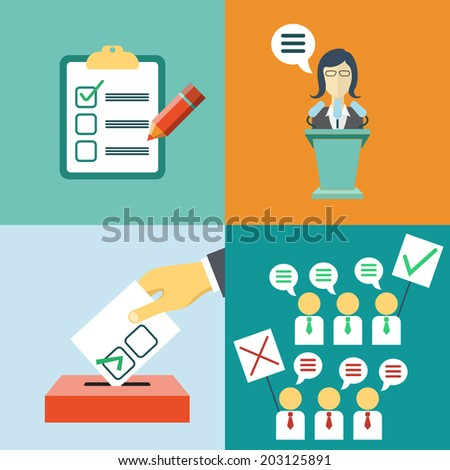 Vector politics concept in flat style. Vote, elections, meeting. - stock vector