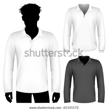 Vector. Polo shirt and sweatshirt design template with human body silhouette. - stock vector