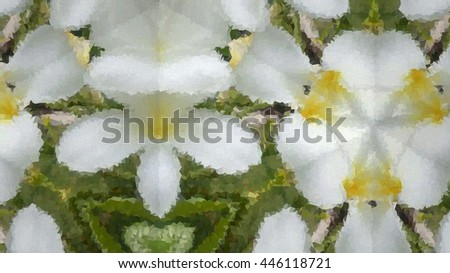 vector polygon , abstract background kaleidoscope of white Plumeria  - stock vector