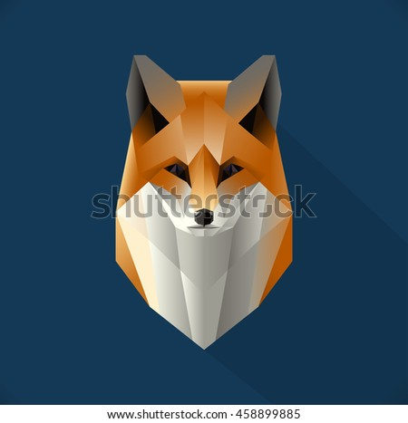 Vector polygon fox illustration. Low poly design. Abstract animal made out of triangles.  Stylized icon concept. Fox symbol for focus, determination, and wisdom.  - stock vector
