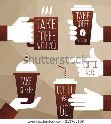 Vector  polygon graphics take coffee to go. Coffee shop - stock vector