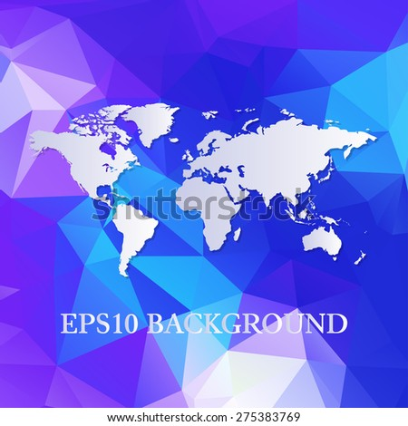 Vector polygon world map background - stock vector