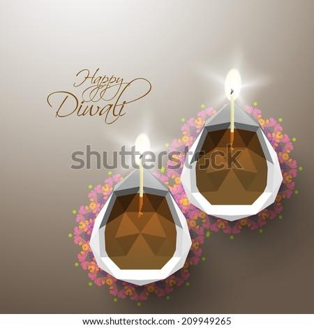 Vector Polygonal Diwali Diya (Oil Lamp). - stock vector