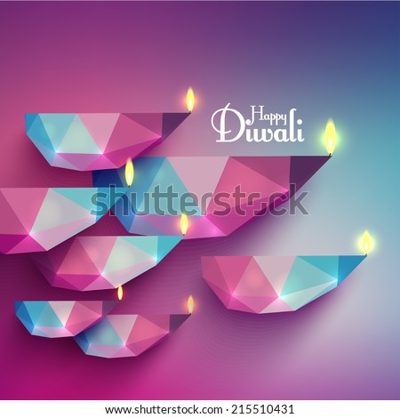 Vector Polygonal Diwali Diya (Oil Lamp).