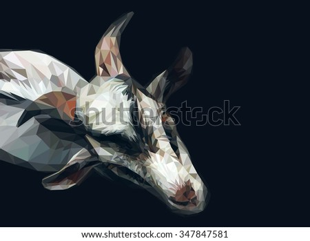 Vector polygonal goat illustration. - stock vector