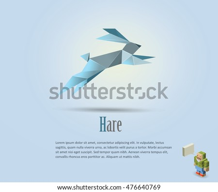 Vector polygonal illustration of hare, rabbit icon, modern art, isometric man character