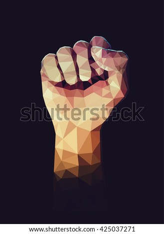 Vector polygonal illustration of raised up clenched male fist. Symbol of demonstration, revolution, protest, resistance and  freedom. - stock vector