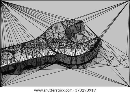 vector polygonal monkey wrench - stock vector