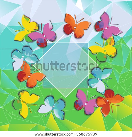 Vector polygonal pattern with colorful butterflies with space for text. EPS10 vector file organized in layers for easy editing. - stock vector
