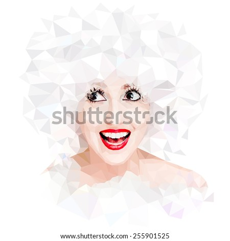 Vector Polygonal Portrait - stock vector