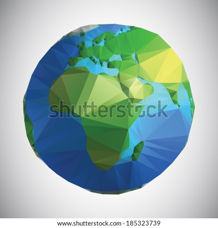 Vector polygonal style illustration of earth planet, eastern hemisphere - stock vector