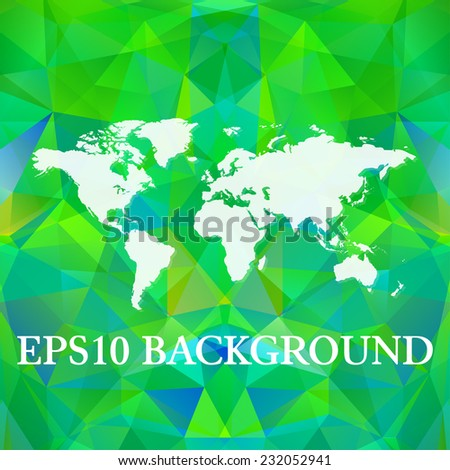 Vector Polygonal World Map background. Website background template. Red polygons. Gerographical map - stock vector