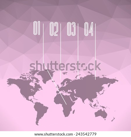 Vector Polygonal World Map infographic background with footnotes and list - stock vector