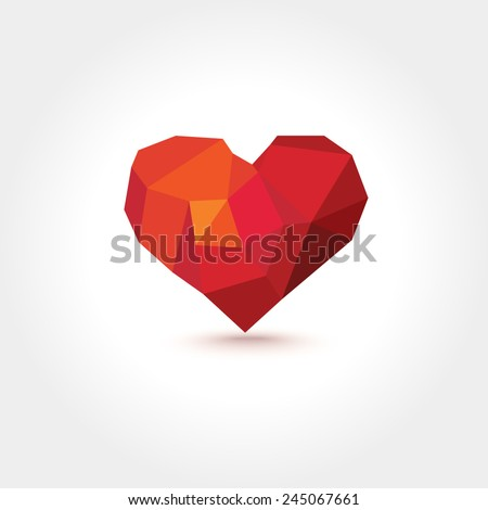 Vector Polygons Lowpoly Geometric Heart with Shadow. Template for Valentines Day - stock vector