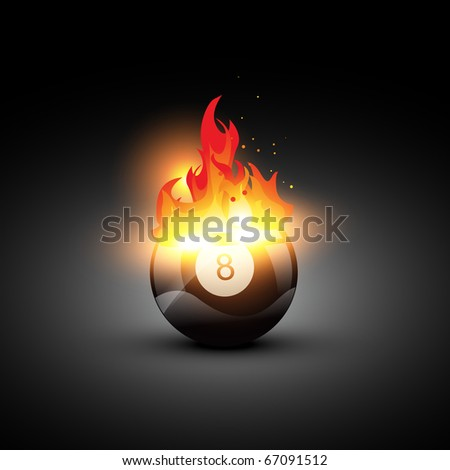 vector pool ball on fire - stock vector