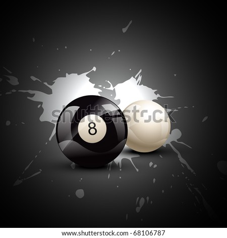 vector pool balls on grungy background - stock vector