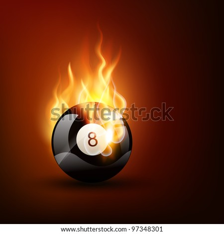 vector pool game ball in burning style - stock vector
