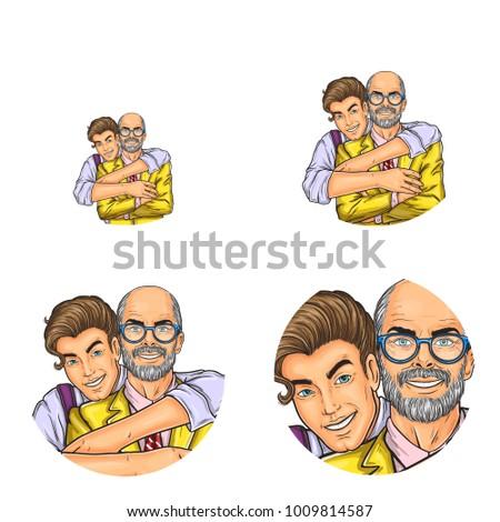 vector pop art avatars social network stock vector 1009814587