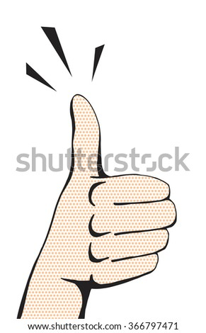 Vector pop art dotted thumbs up hand sign, like hand gesture for design in comic style isolated on white background - stock vector