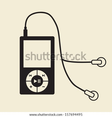 vector portable music player and headphone - stock vector